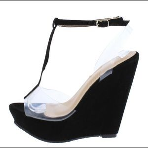 Brand new with box black suede wedges